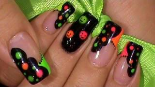 Neon Colors Happy Face Nail Art Design Tutorial