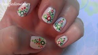For Short Nails: Easy Abstract Christmas Tree Nail Art Design