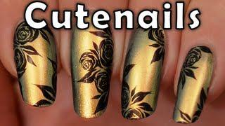 Party Nail Art Design Tutorial : Gold Nails&acrylic Paint Roses
