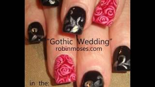 Red Roses Nail Art - Black Silver Filigree