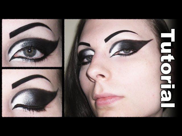 Dramatic Gothic White to Black Extended Winged Cat Eye Makeup Tutorial