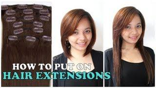How To Put On Hair Extensions Tutorial + Review