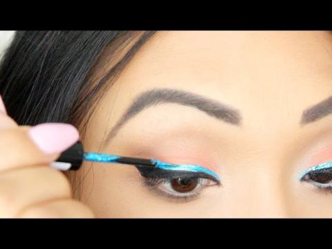 Tropical/Beach Inspired Tutorial (Bold Blue Liner)