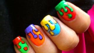 Dripping Paint Nail Art Design - Colorful Tutorial Nail Polish Designs  Kids Video Pop Nail At Home