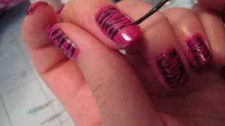 Nail Tutorial: Hot Pink Zebra Nail Design