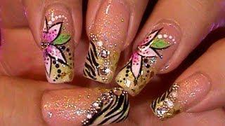 Animal Print Zebra Floral Pattern Nail Design