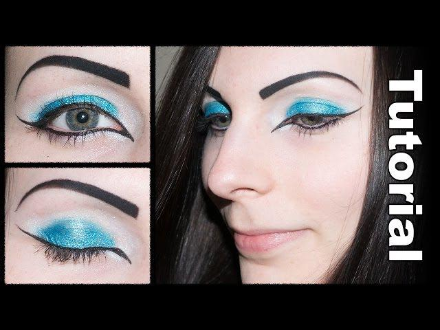 Blue / Teal & White Eyeshadow with Cat Eye Makeup Tutorial